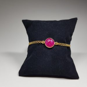 ruby bracelet with silver lavriostone