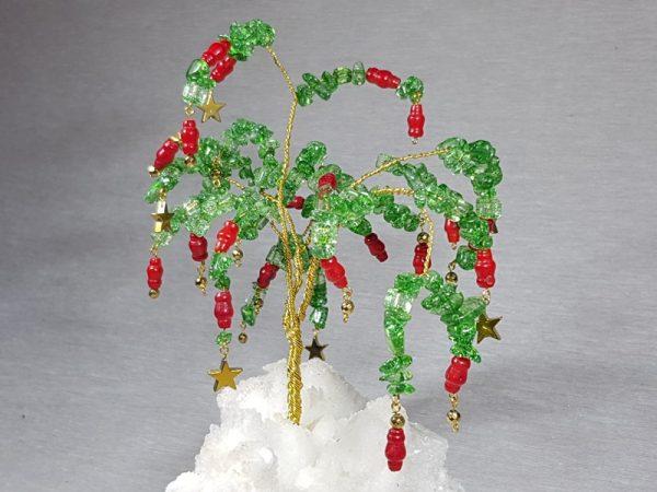 χειροποίητο δέντρο με λίθους καλσίτη αιματίτη και κοράλι lavriostone