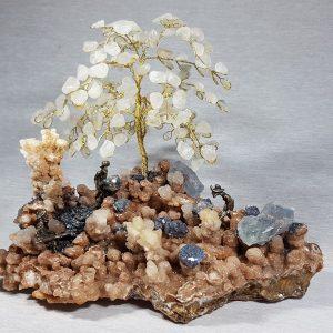 δέντρο χειροποίητο με λίθους και μεταλλωρύχους lavriostone