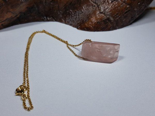 ασημένιο επίχρυσο κολιέ με ροζ χαλαζία Ν87 lavriostone